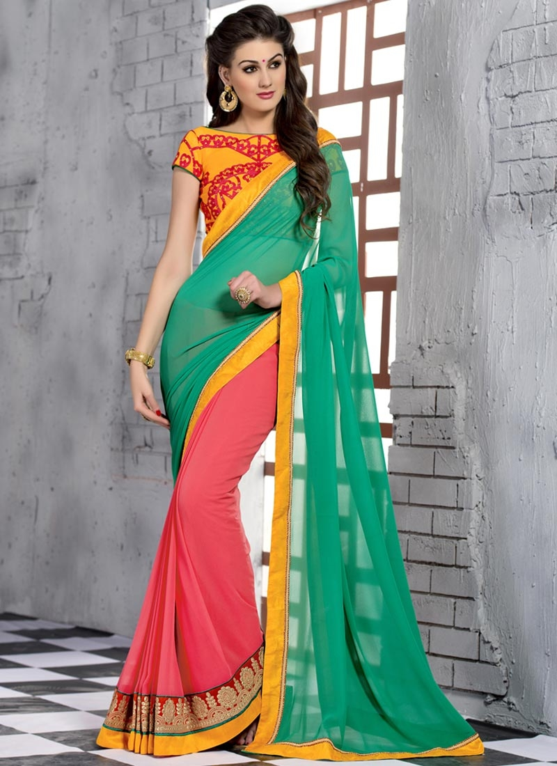 Pleasance Patch Border Work Half N Half Party Wear Saree