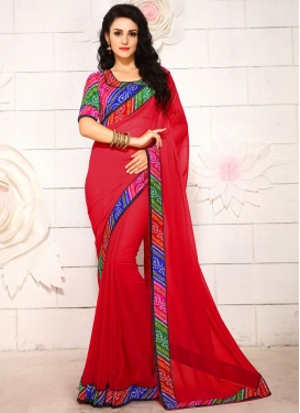 Pleasance Red Color Lace Work Casual Saree