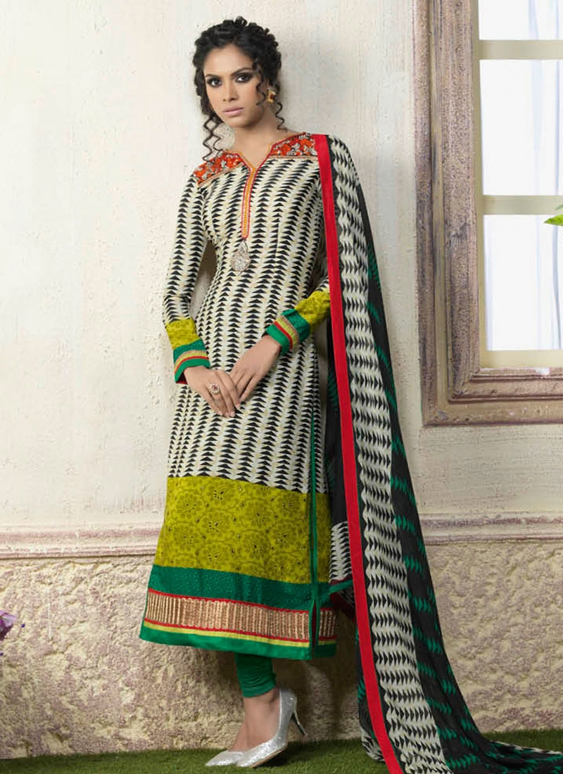 Pleasance Resham Work Crepe Silk Churidar Suit