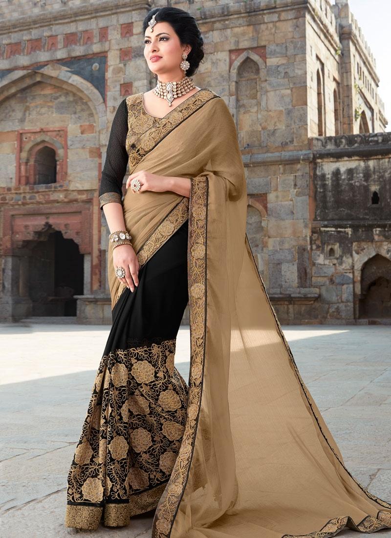 Pleasance Sequins And Embroidery Work Half N Half  Designer Saree
