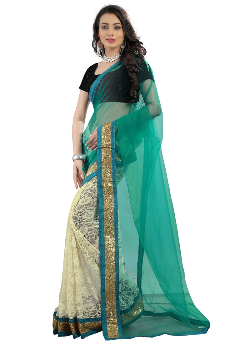 Pleasance Sequins Work Net Half N Half Party Wear Saree