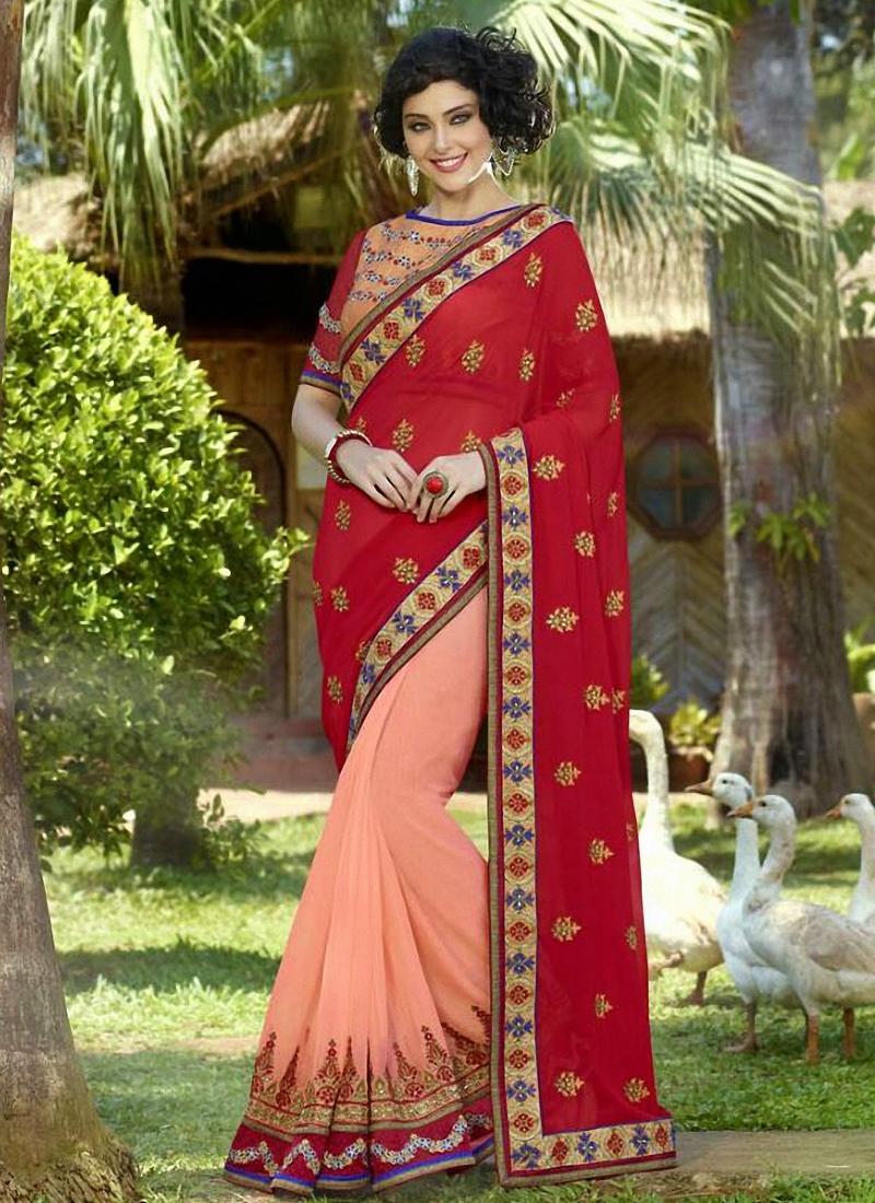 Pleasance Stone Work Half N Half Designer Saree