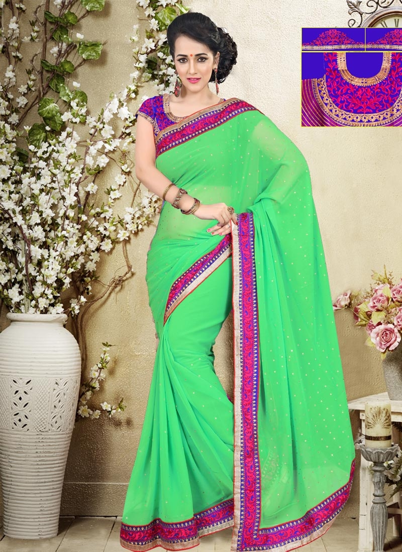 Pleasance Stone Work Mint Green Color Casual Saree