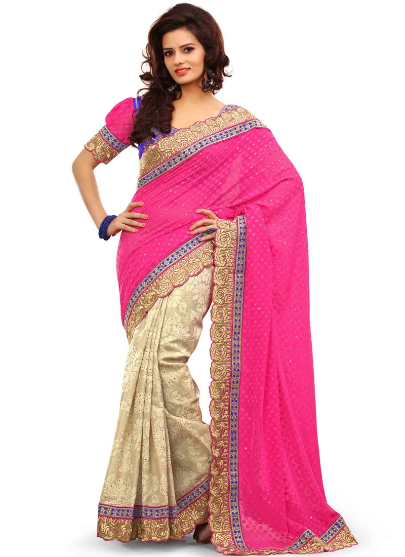 Pleasance Stone Work Silk Half N Half Party Wear Saree