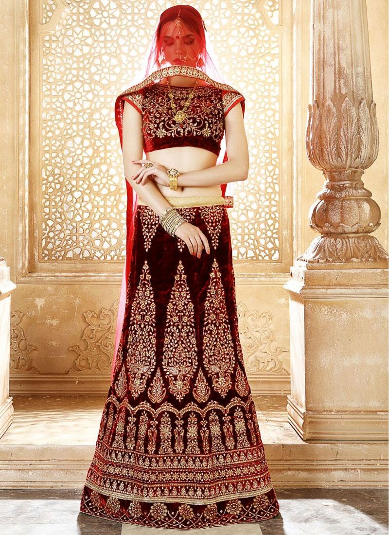 Pleasance Velvet Booti Work Bridal Lehenga Choli