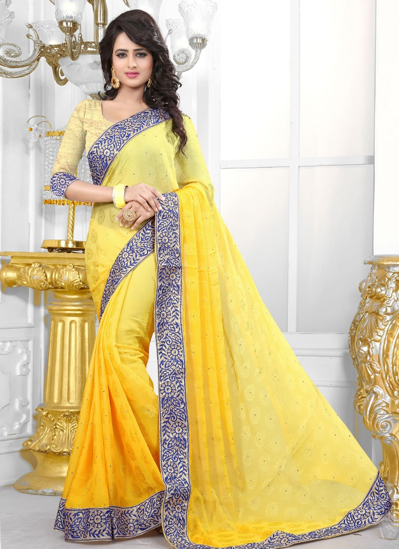 Pleasance Yellow Color Jacquard Party Wear Saree