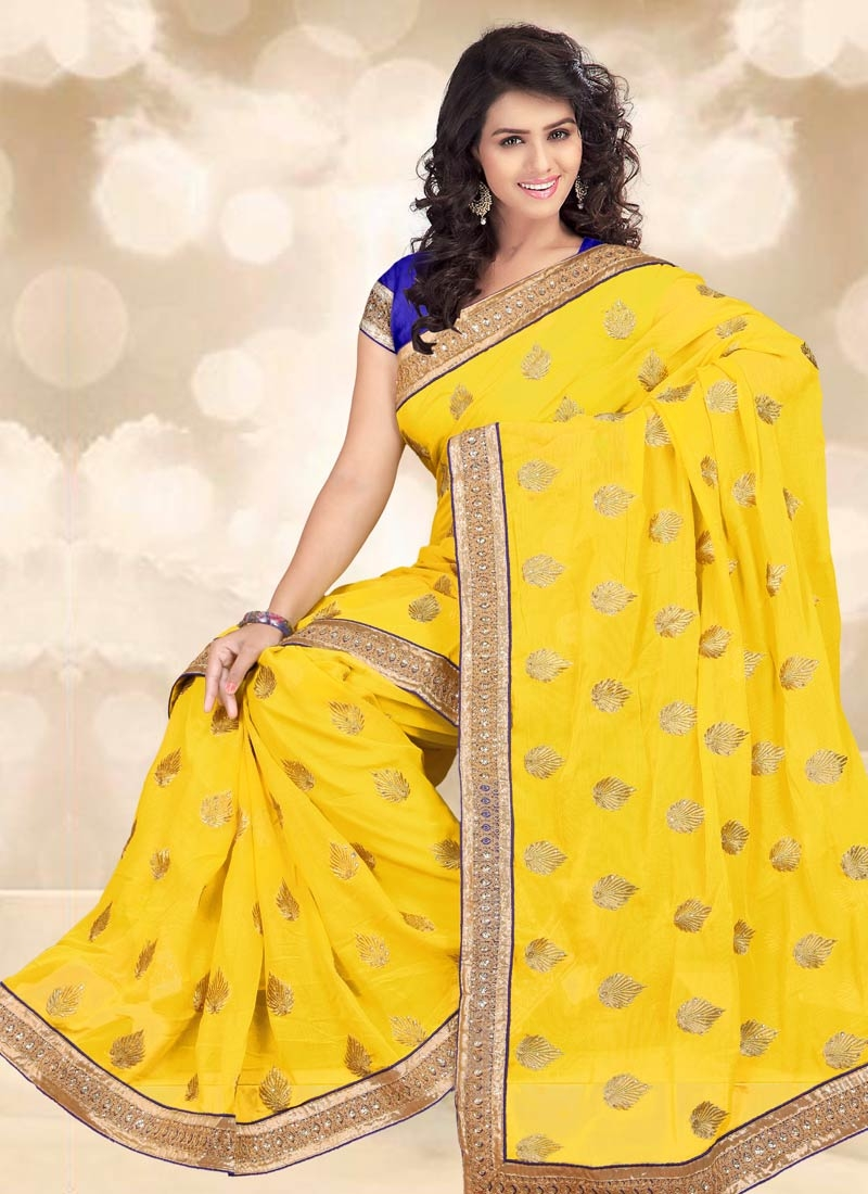 Pleasance Yellow Color Stone Work Party Wear Saree