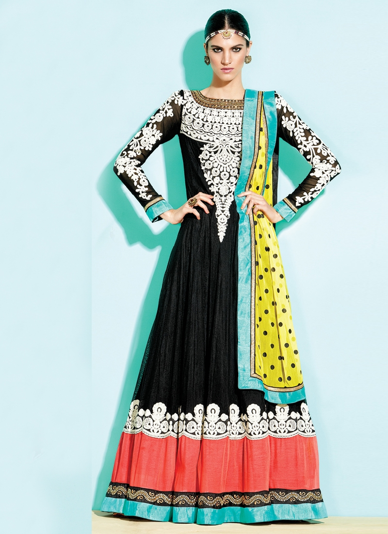 Pleasing Black Color Anarkali Salwar Kameez