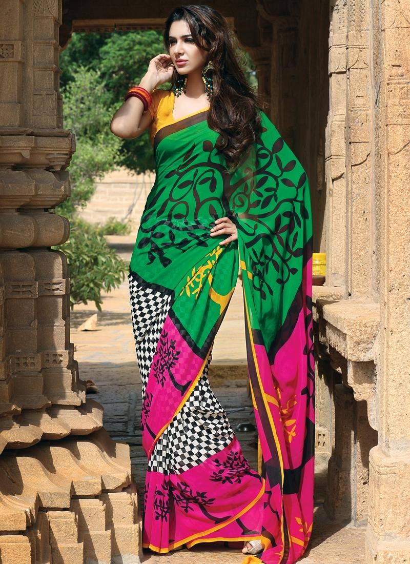 Pleasing Block Printed Party Wear Saree