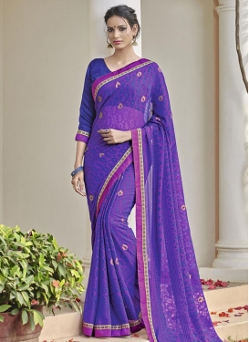 Pleasing Blue and Magenta Lace Work Contemporary Saree