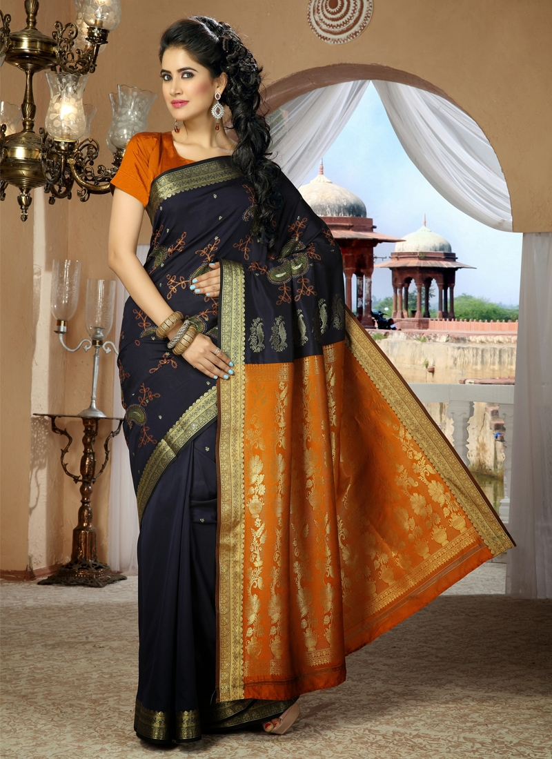 Pleasing Chicken Work Party Wear Saree