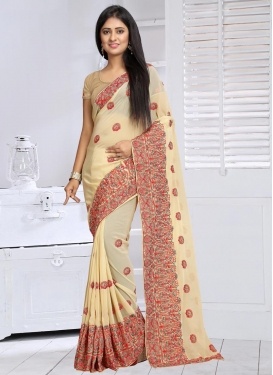 Pleasing Embroidered Work Faux Georgette Classic Saree For Ceremonial
