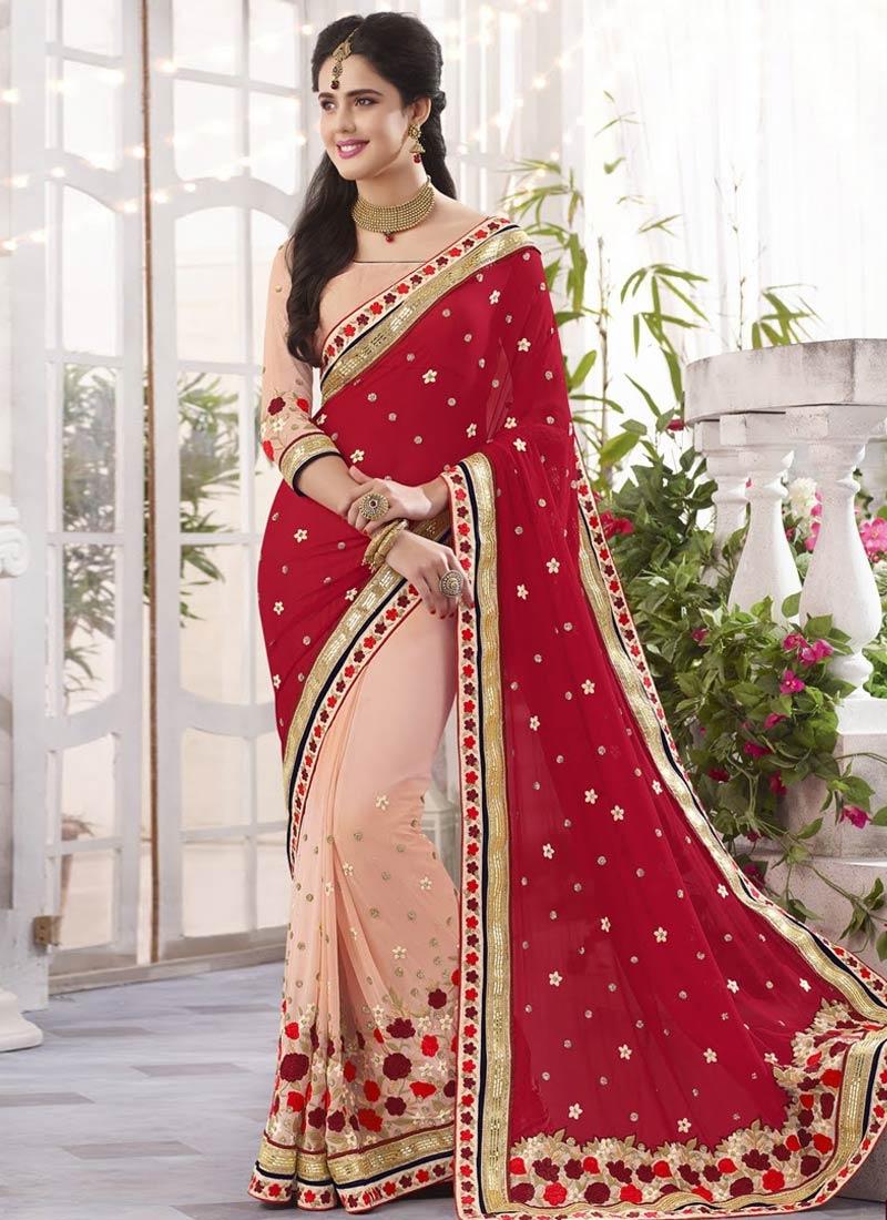 Pleasing Floral Work Half N Half Wedding Saree