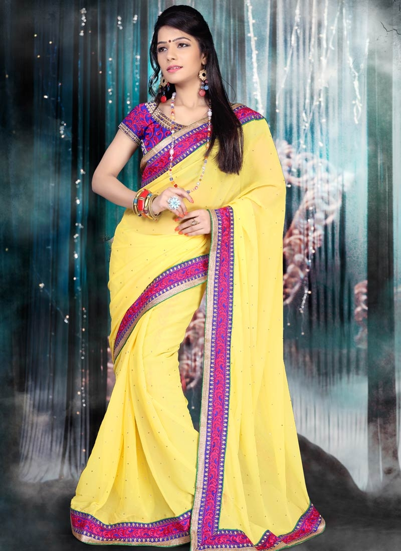 Pleasing Lace And Stone Work Casual Saree