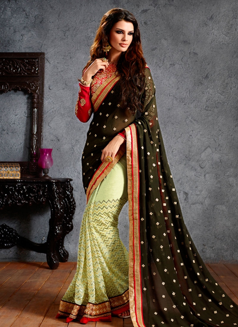 Pleasing Lace Work Half N Half Designer Saree