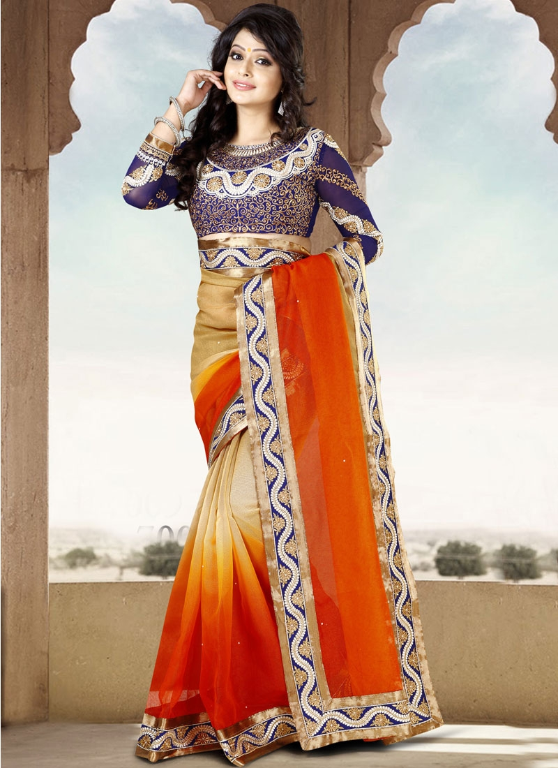Pleasing Orange And Beige Color Party Wear Saree