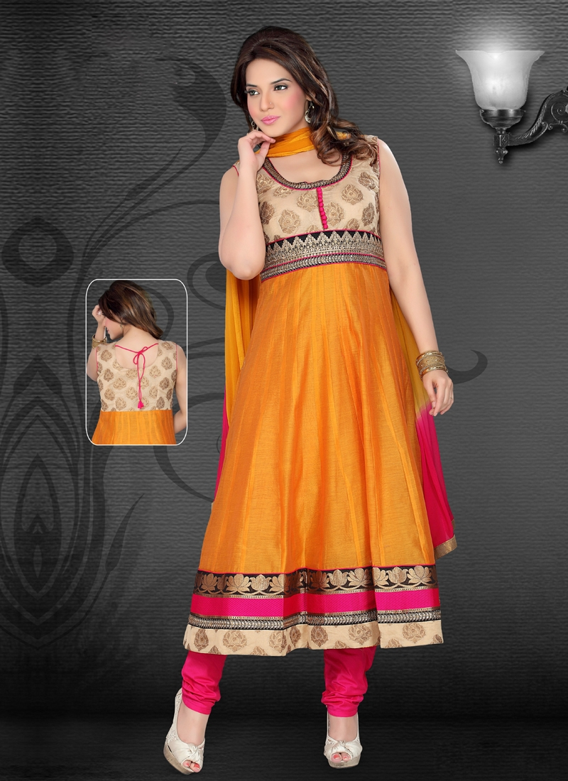 Pleasing Orange Color Readymade Anarkali Suit