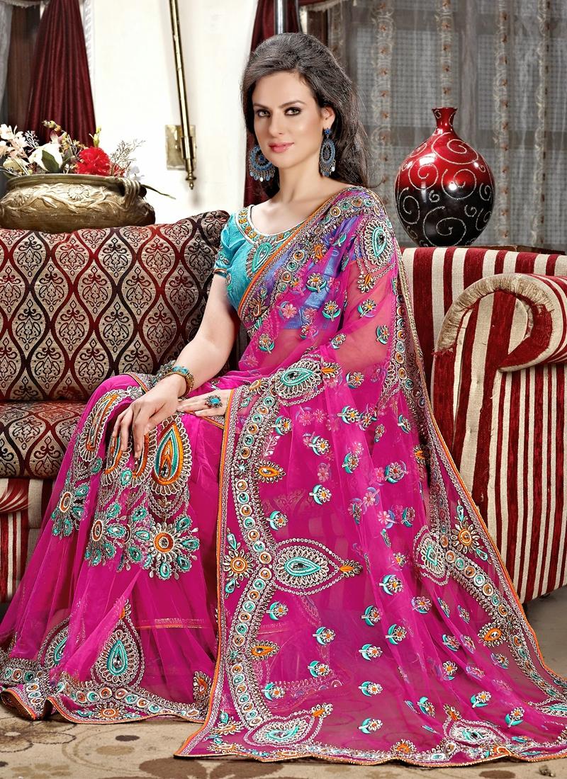 Pleasing Rose Pink Color Booti Work Wedding Saree