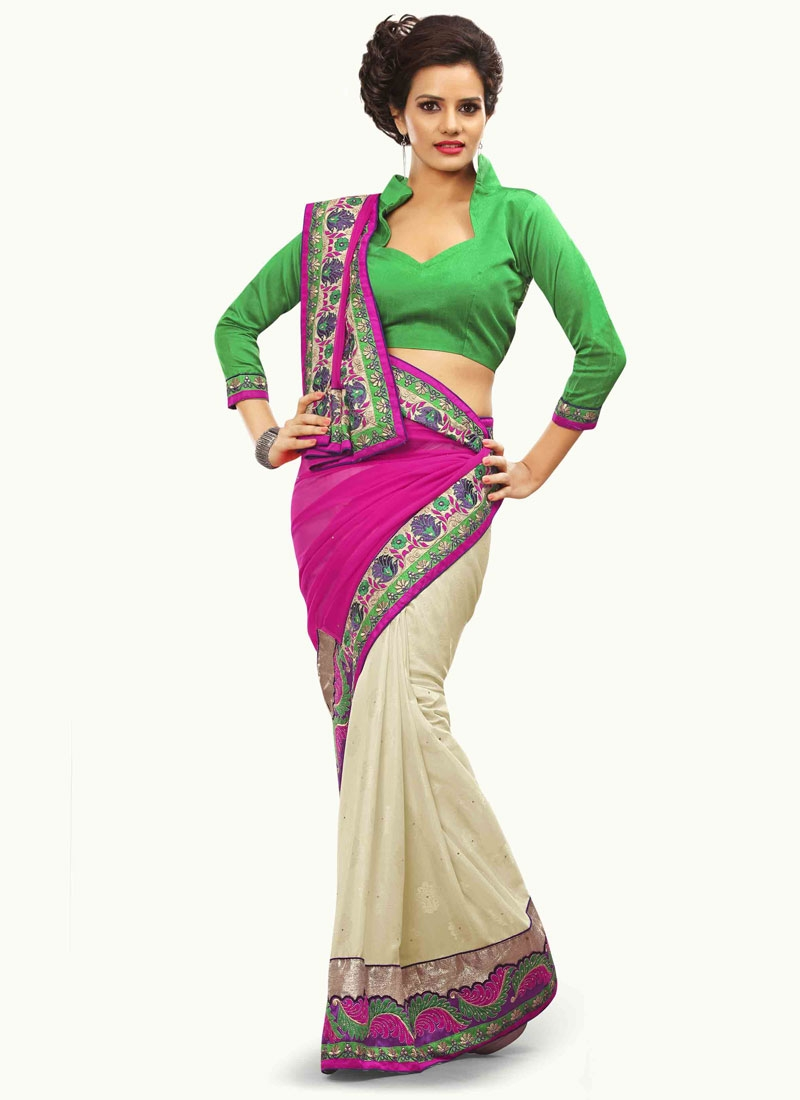 Pleasing Stone Work Half N Half Designer Saree