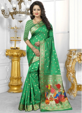 Polka Dotted Work Traditional Saree