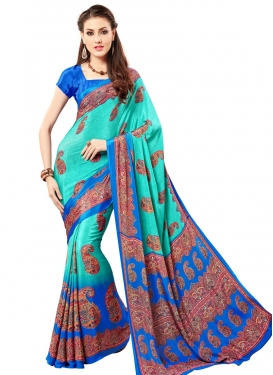Praiseworthy Aqua Blue and Blue Print Work Classic Saree