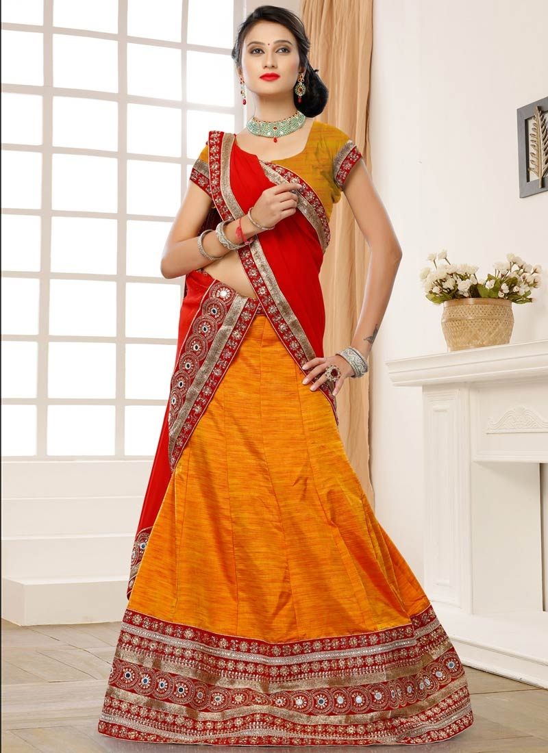 Praiseworthy Art Dupion Silk Orange Color Designer Lehenga Choli