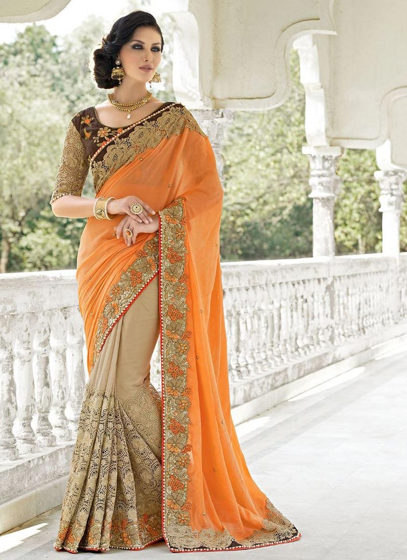 Praiseworthy Beads And Stone Work Half N Half Wedding Saree