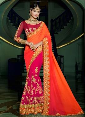 Praiseworthy  Beads Work Half N Half Trendy Saree For Bridal
