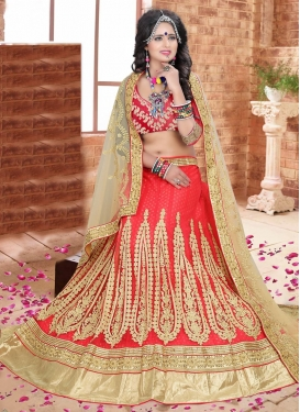 Praiseworthy Beige and Red Net Trendy Straight Cut Lehenga Choli For Party