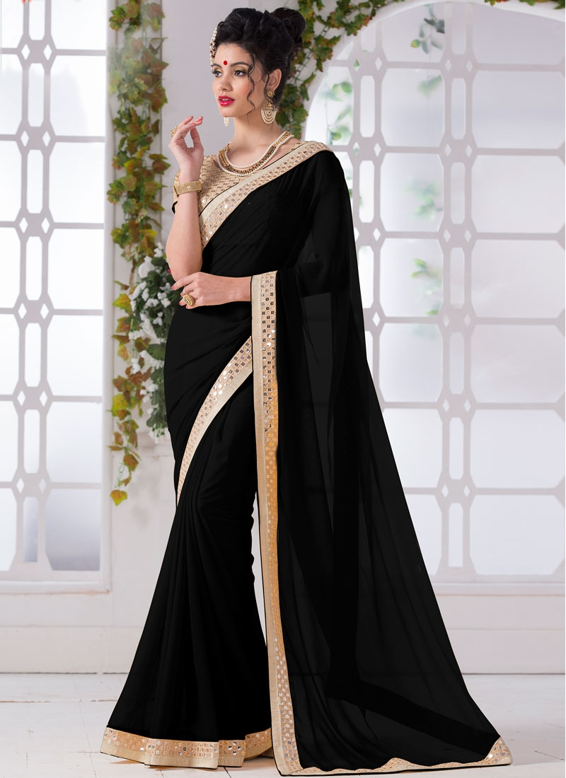 Praiseworthy Bolack Color Faux Chiffon Casual Saree