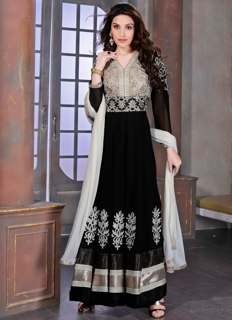 Praiseworthy Booti And Lace Work Long Length Anarkali Suit