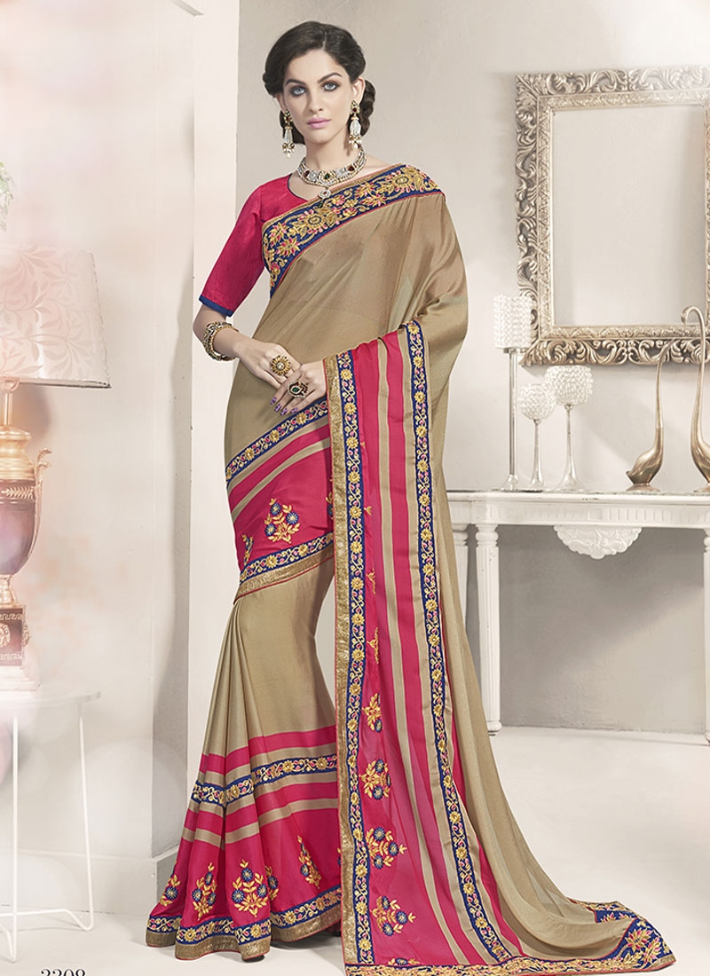 Praiseworthy Booti Work Beige Color Party Wear Saree