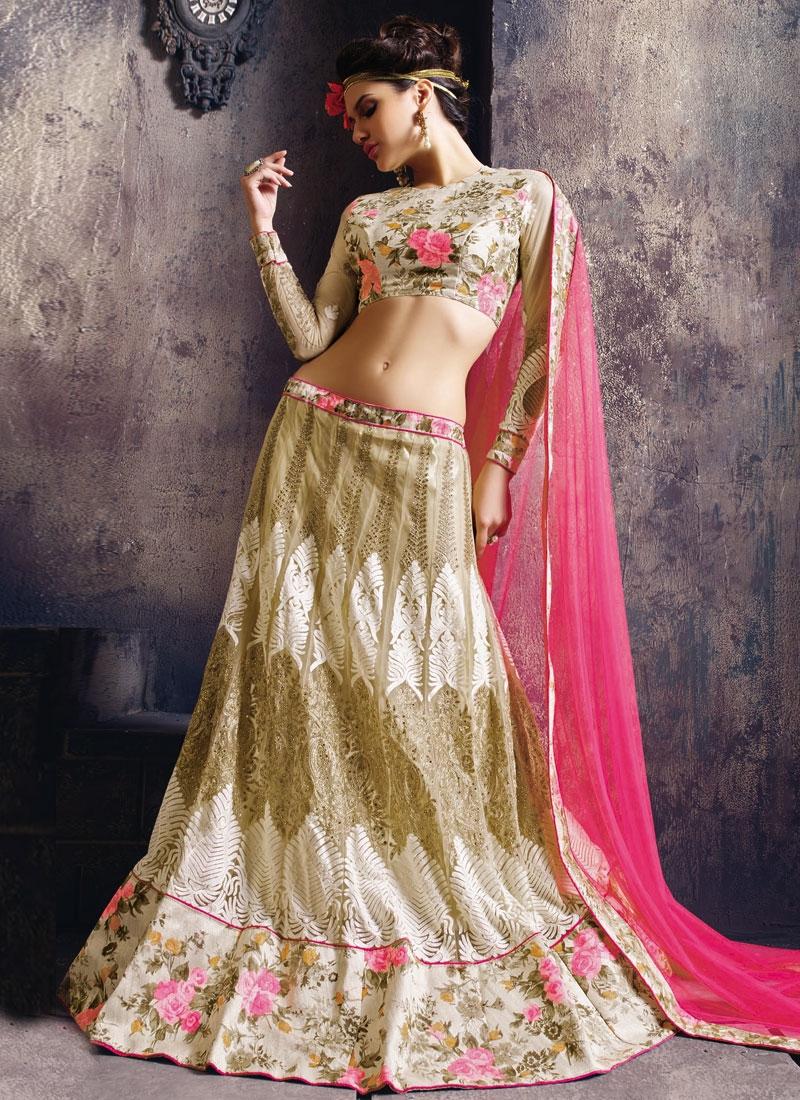 Praiseworthy Booti Work Cream Color Designer Lehenga Choli