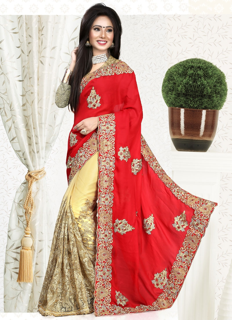 Praiseworthy Booti Work Red Color Half N Half Wedding Saree