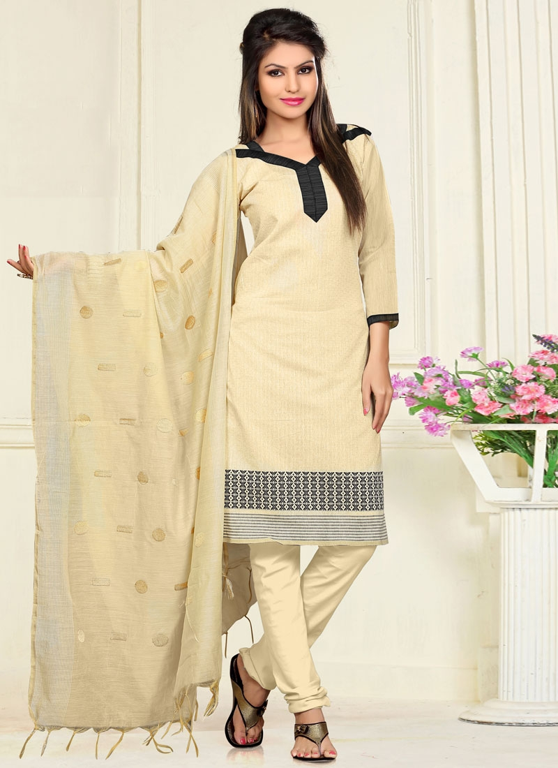 Praiseworthy Cream Color Casual Salwar Kameez