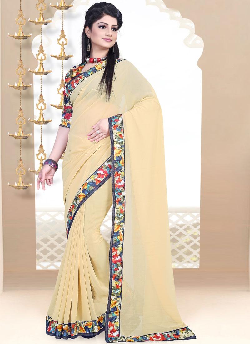Praiseworthy Cream Color Casual Saree