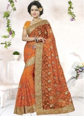 Praiseworthy Embroidered Work Net Contemporary Saree For Festival