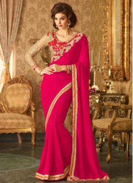 Praiseworthy Embroidered Work Traditional Saree For Ceremonial