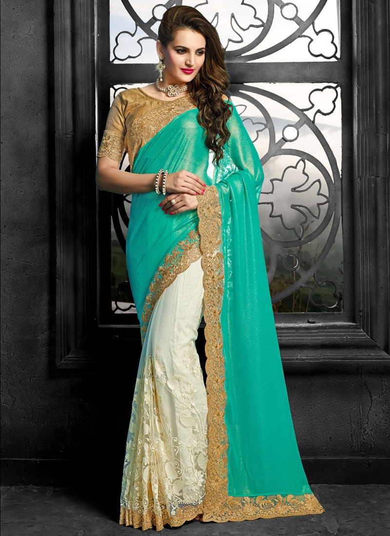 Praiseworthy Embroidery Work Net Half N Half Wedding Saree