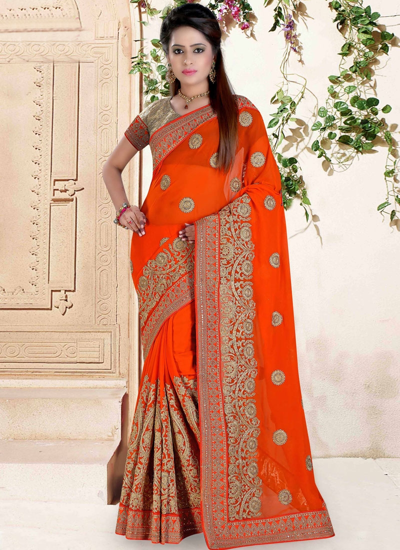 Praiseworthy Embroidery Work Orange Color Wedding Saree