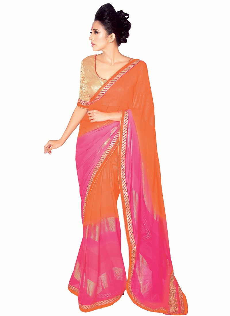 Praiseworthy Faux Georgette Lace Work Party Wear Saree