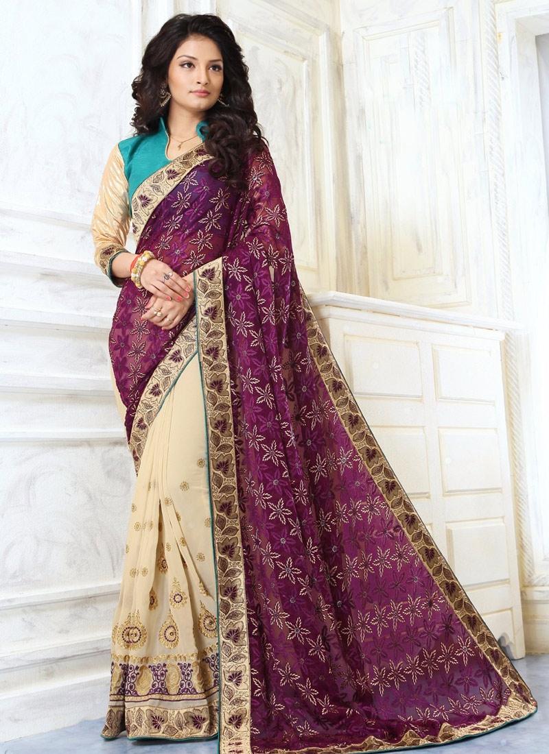 Praiseworthy Faux Georgette Purple Color Half N Half Party Wear Saree