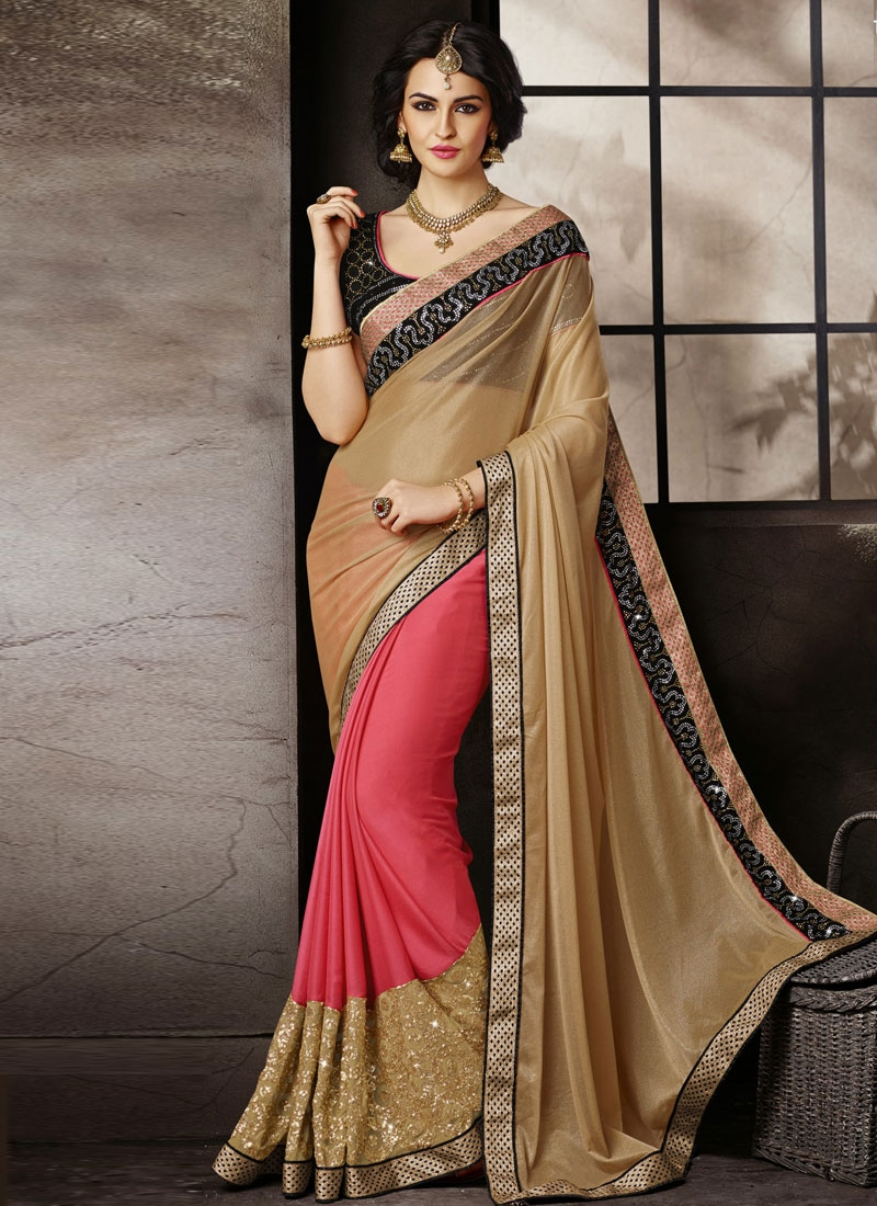 Praiseworthy Lace And Patch Work Half N Half Wedding Saree