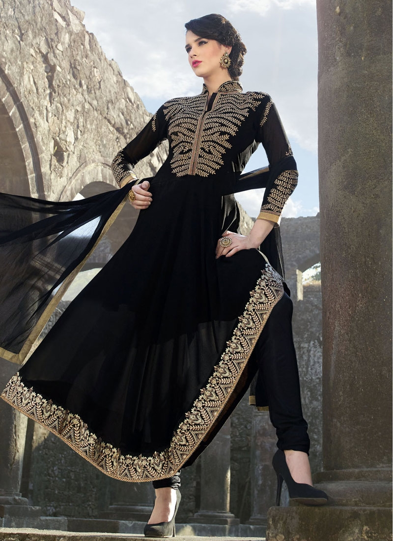 Praiseworthy Lace Work Black Color Party Wear Suit