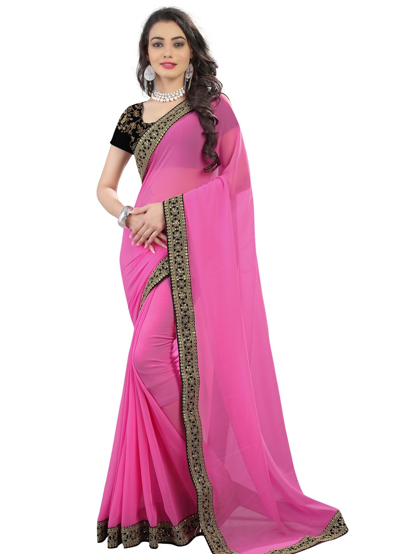 Praiseworthy Lace Work Faux Georgette Party Wear Saree