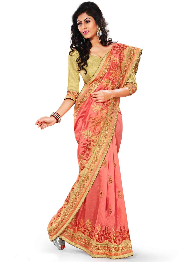 Praiseworthy Lace Work Salmon Color Party Wear Saree