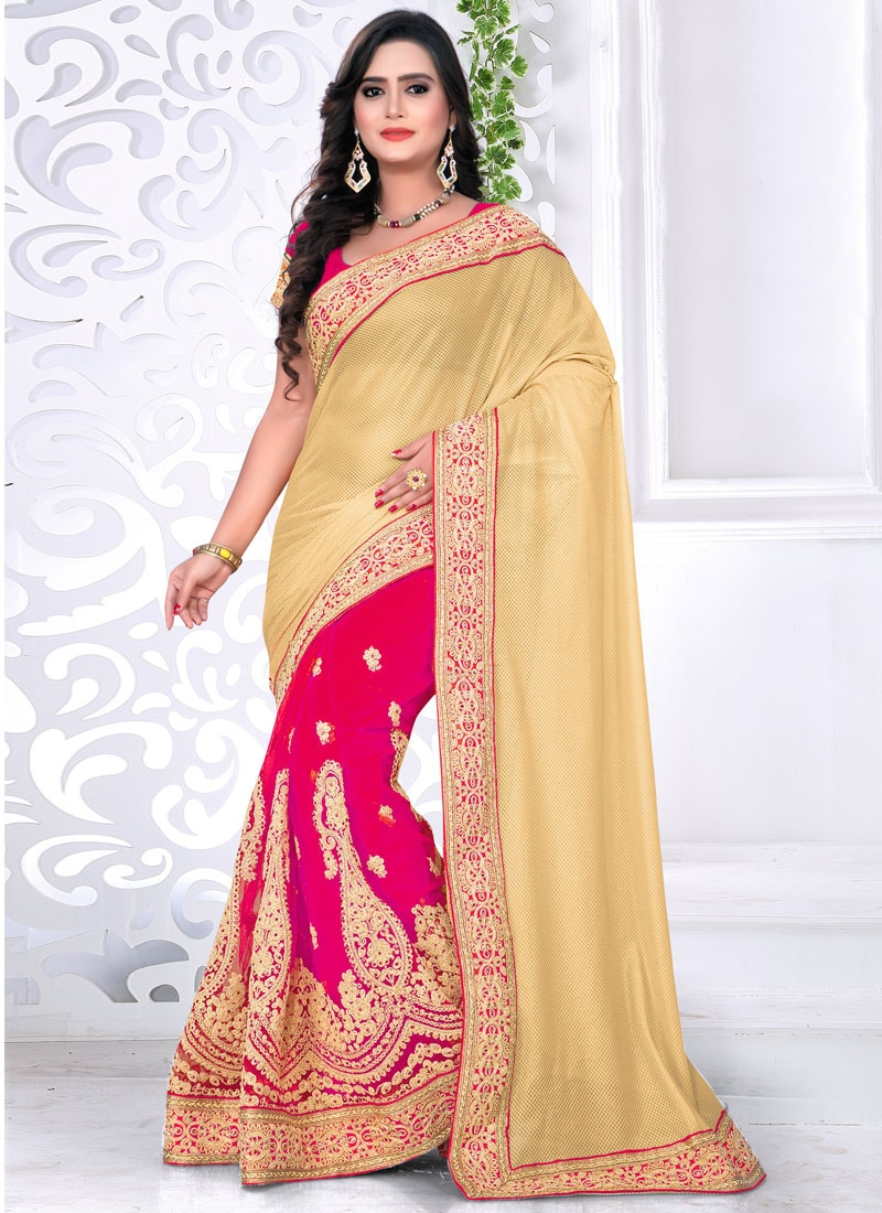 Praiseworthy Lycra And Net Half N Half Designer Saree