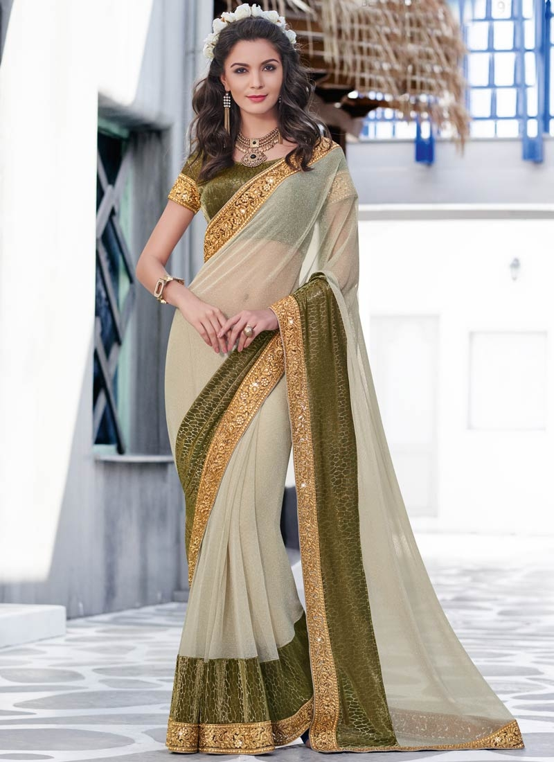 Praiseworthy Lycra Olive Color Designer Saree
