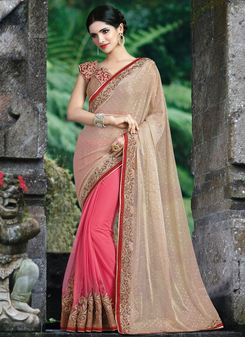Praiseworthy Lycra Patch Border Work Half N Half Designer Saree