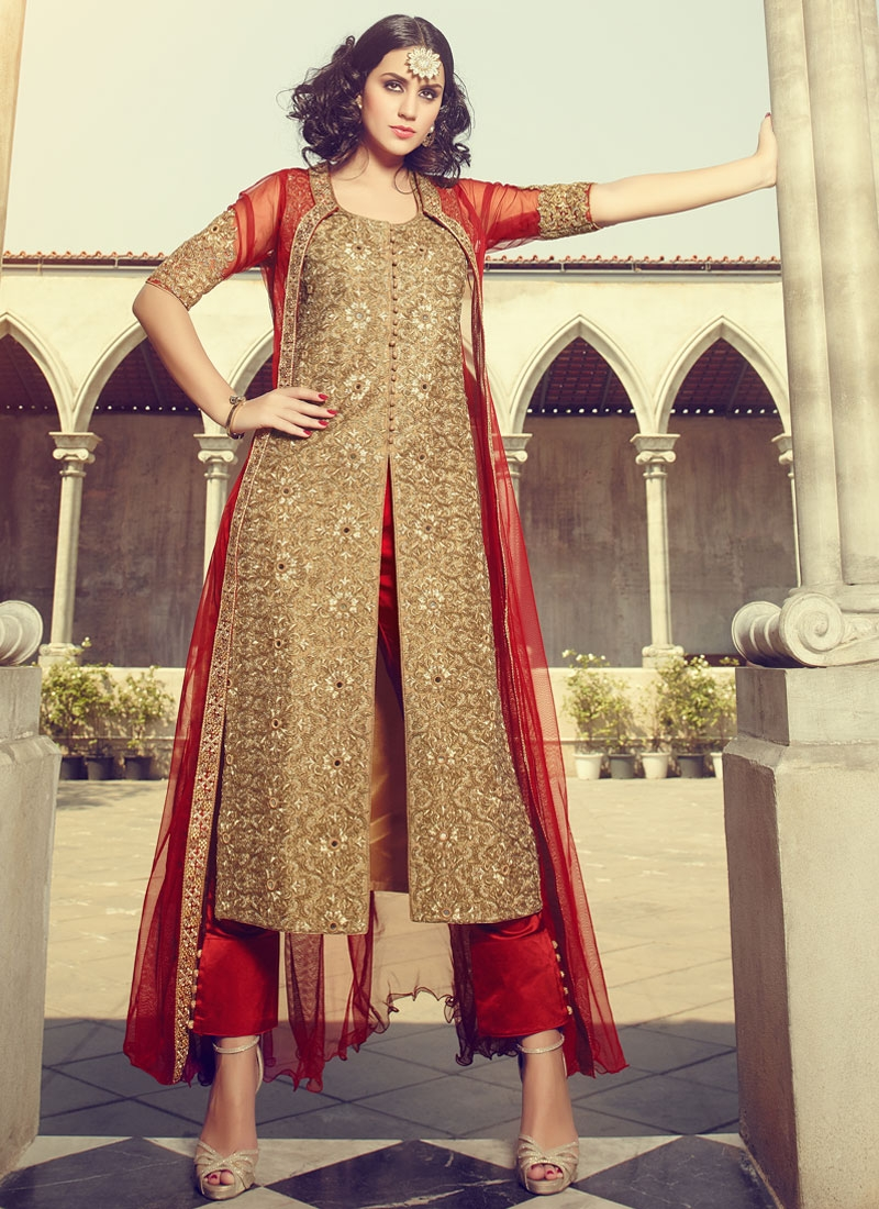 Praiseworthy Mirror And Resham Work Jacket Style Designer Suit